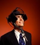 Businessman wearing horse blinders